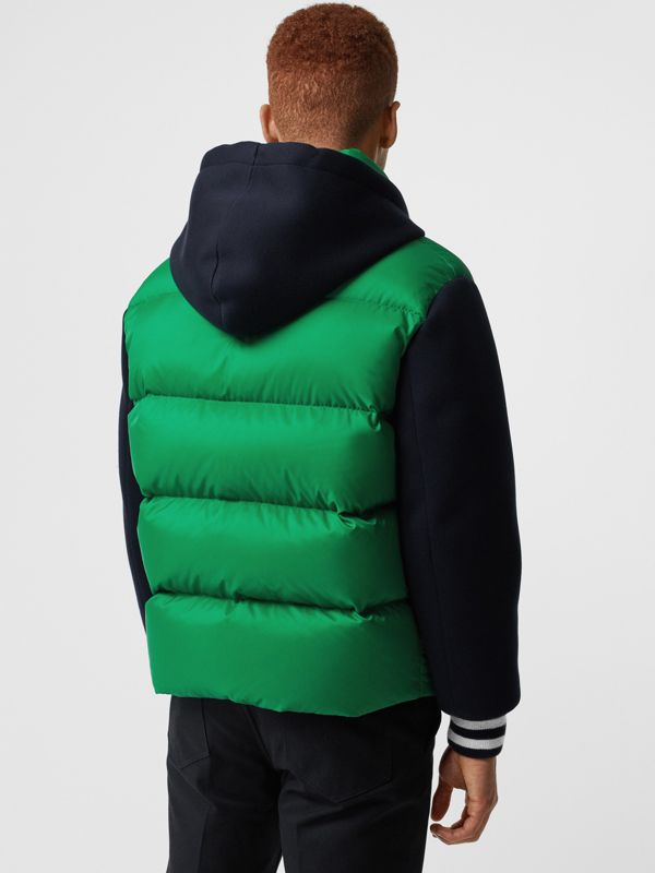Neoprene Down-filled Hooded Jacket in Vibrant Green - Men | Burberry - cell image 2