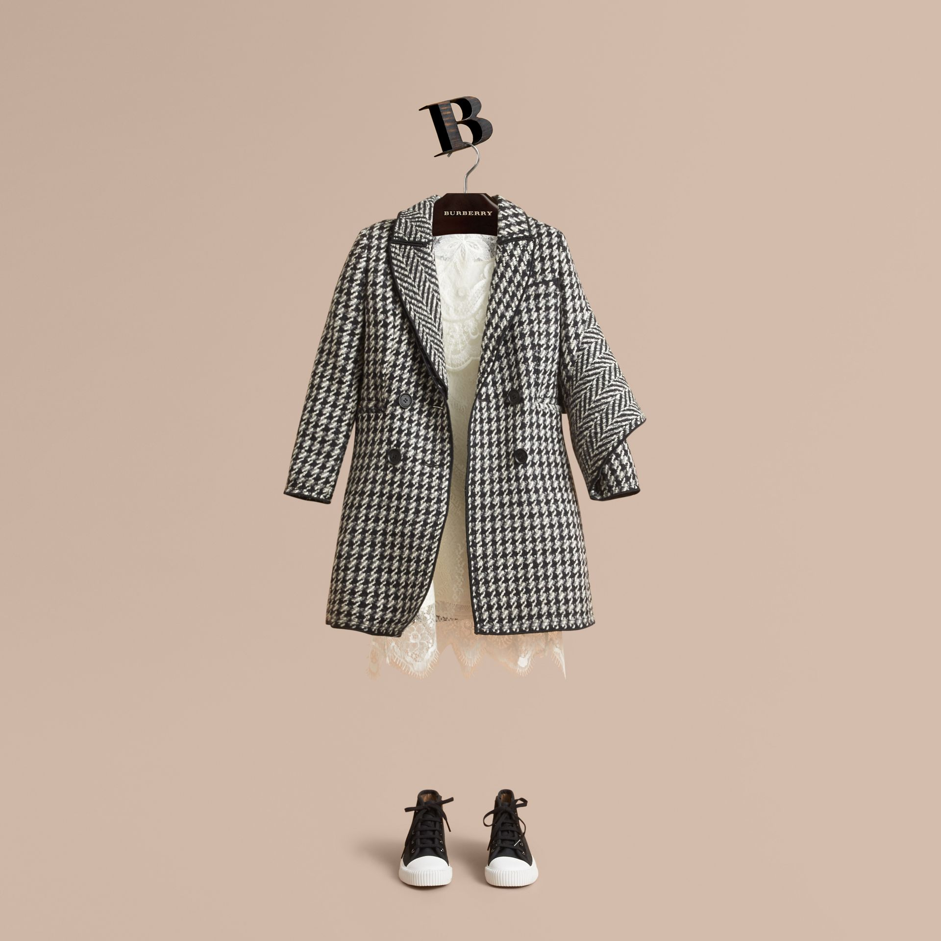 Sculptural Panel Tailored Houndstooth Wool Coat - Girl | Burberry - gallery image 1