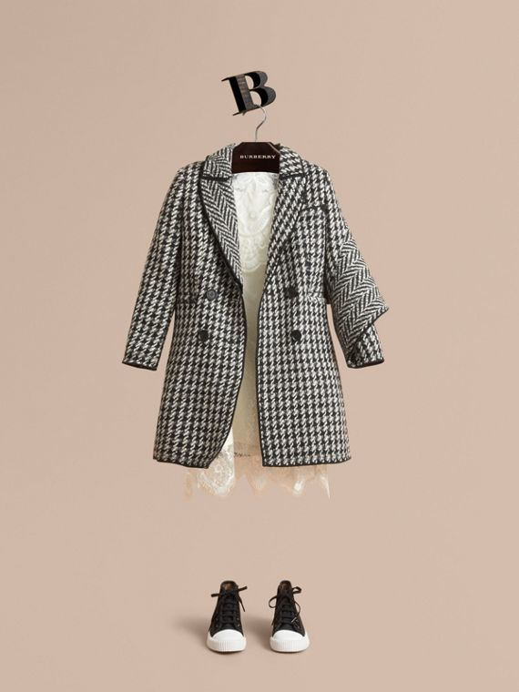 Sculptural Panel Tailored Houndstooth Wool Coat