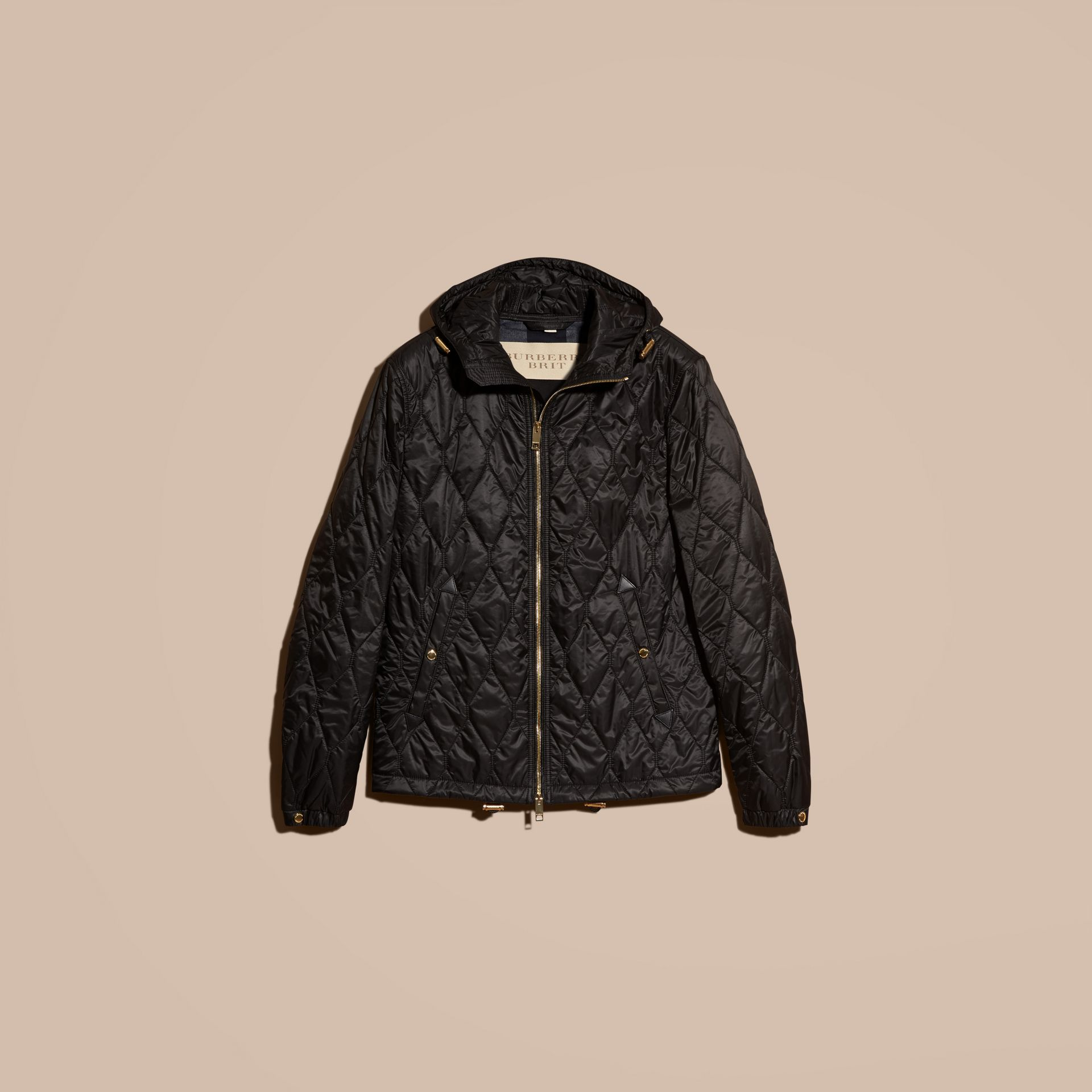 Black Hooded Lightweight Quilted Jacket - gallery image 4