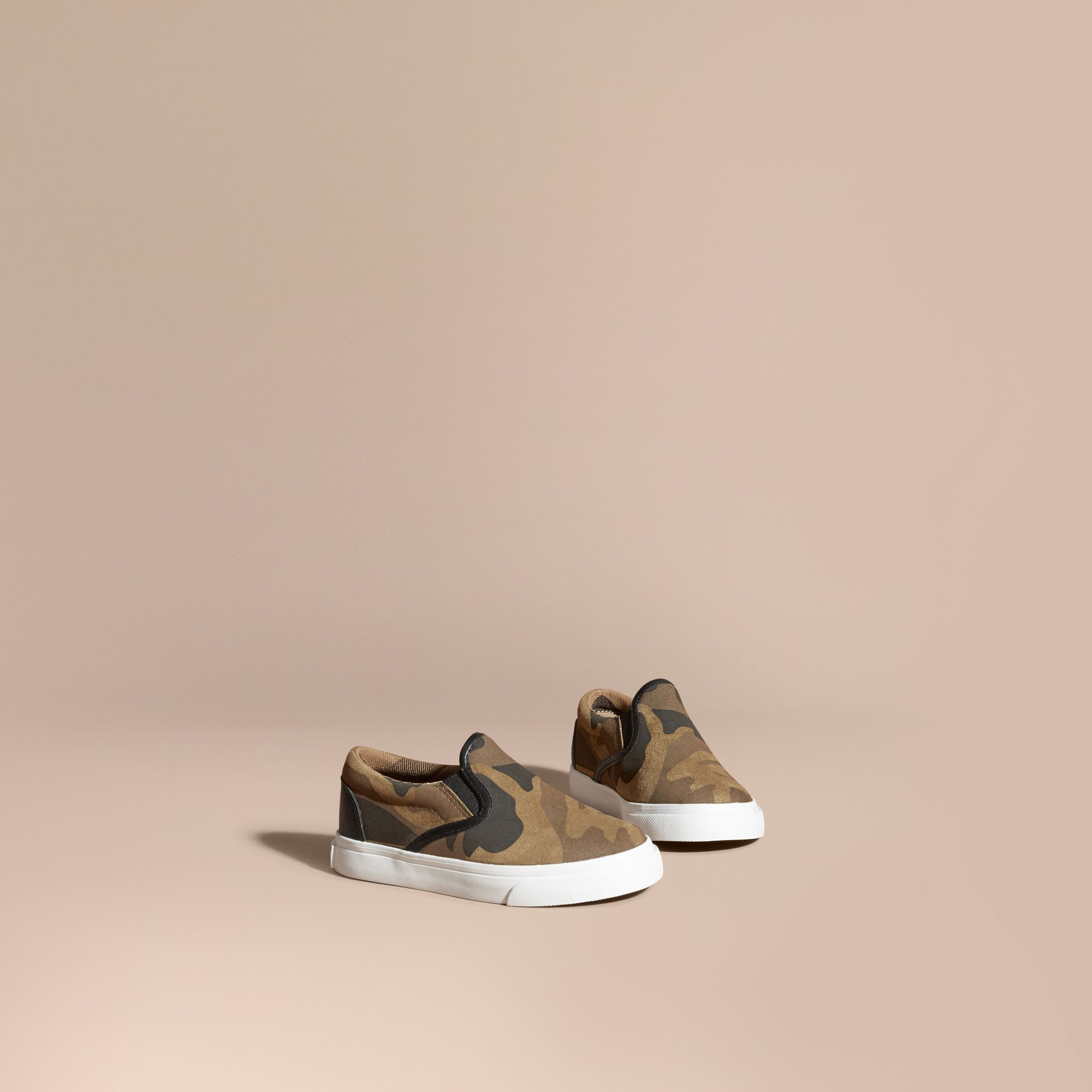 Dark green ochre Camouflage Print Suede Slip-on Trainers - gallery image 1