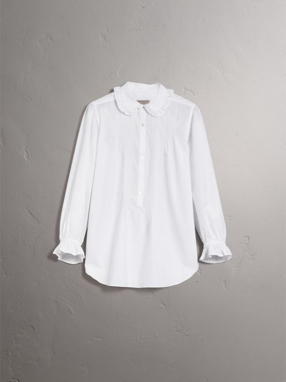 Ruffle and Pintuck Detail Cotton Shirt in White - Women | Burberry - cell image 3