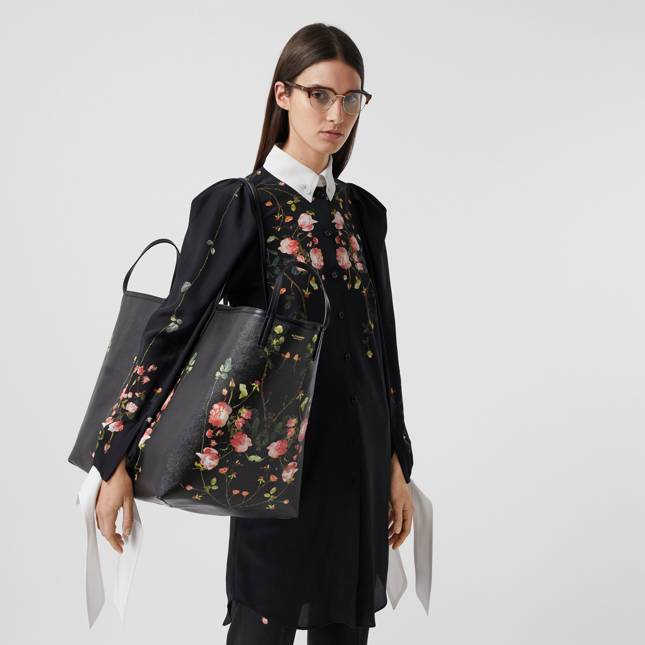 Extra Large Rose Print E-canvas Beach Tote in Black - Women | Burberry - 3
