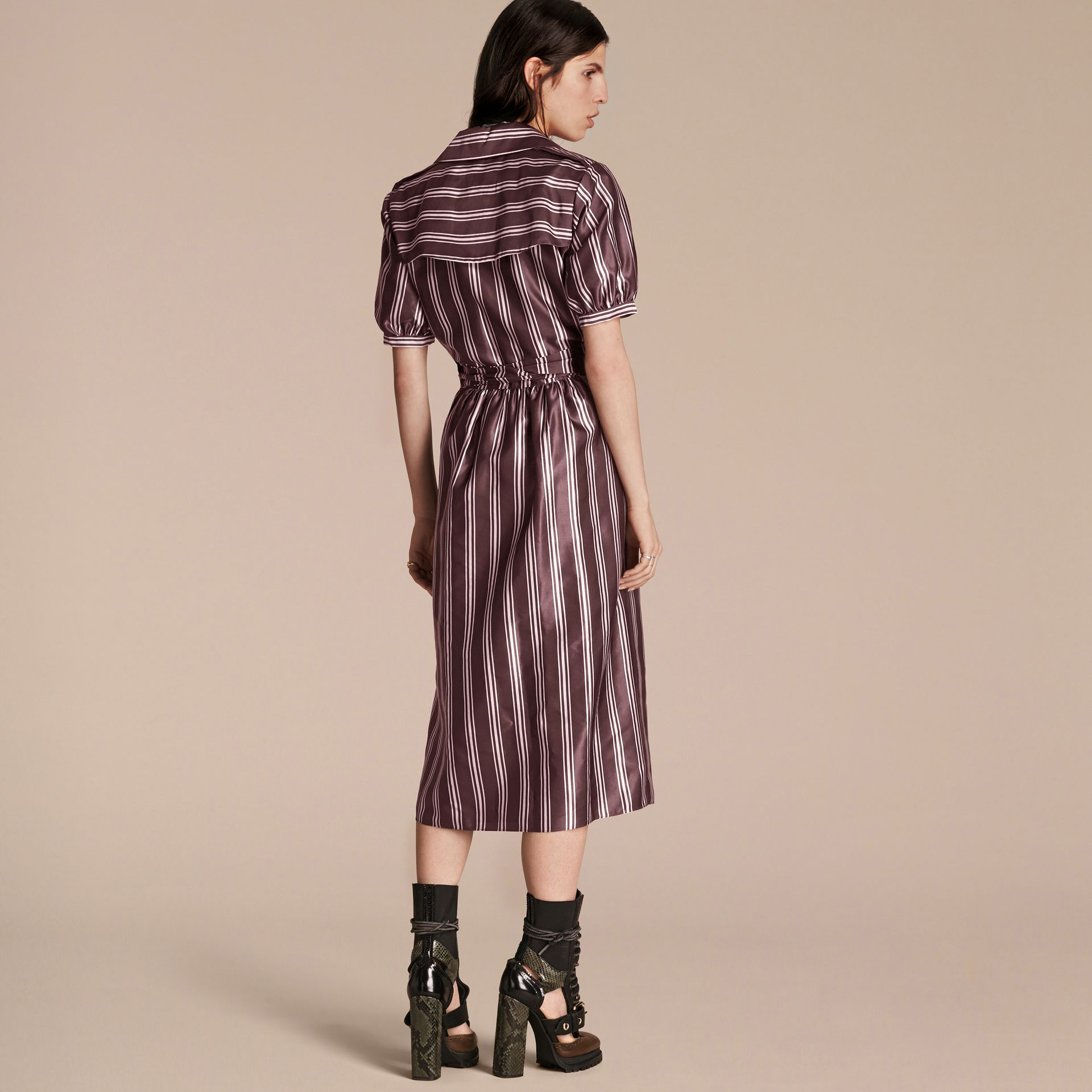 Crimson Panama Stripe Cotton Silk Fixed Wrap Dress - gallery image 3
