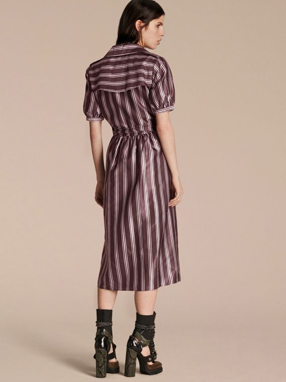 Crimson Panama Stripe Cotton Silk Fixed Wrap Dress - cell image 2