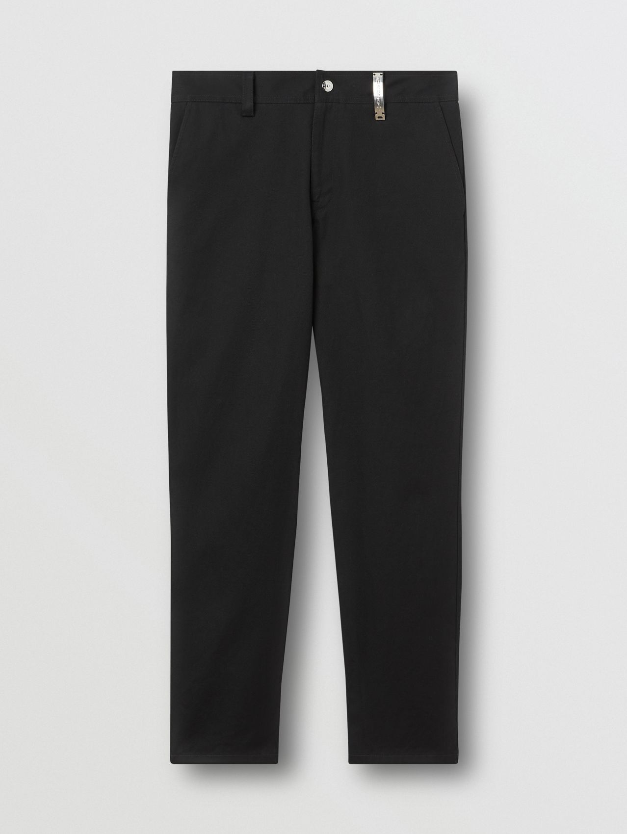 Straight Fit Logo Detail Cotton Chinos in Black