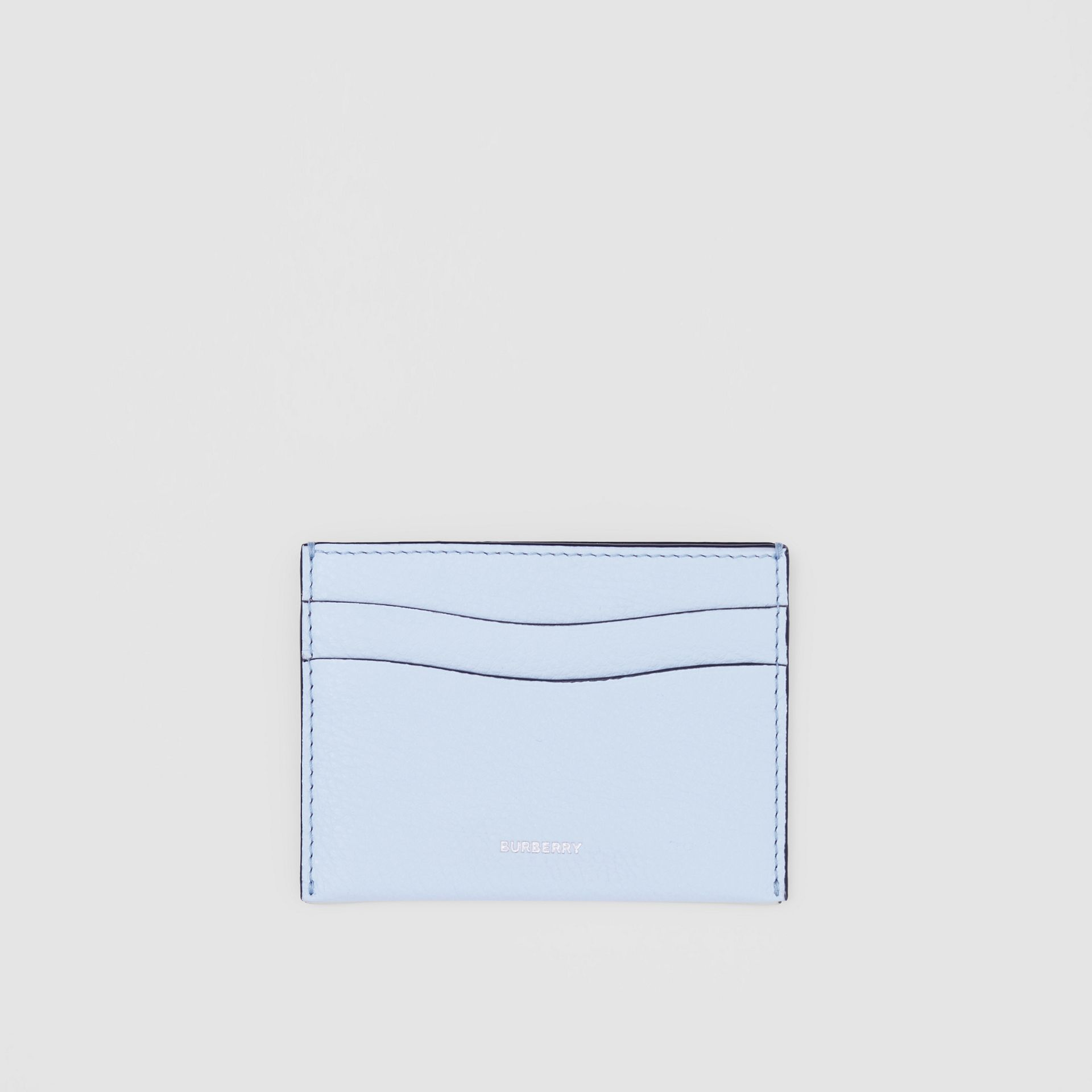 Grainy Leather Card Case in Pale Blue | Burberry - gallery image 0