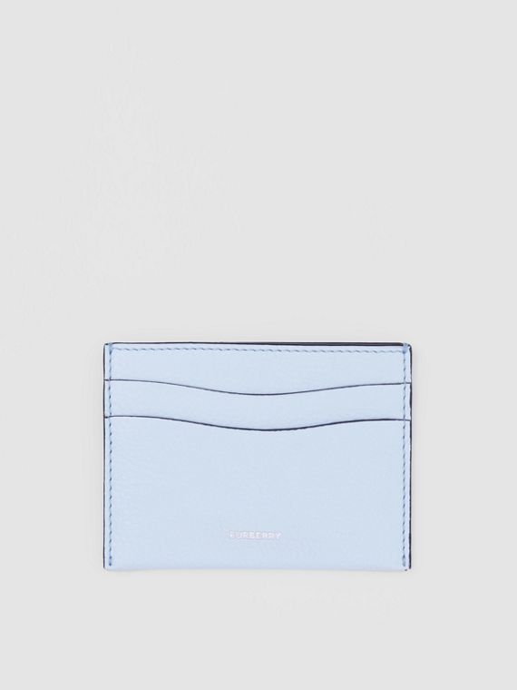Grainy Leather Card Case in Pale Blue