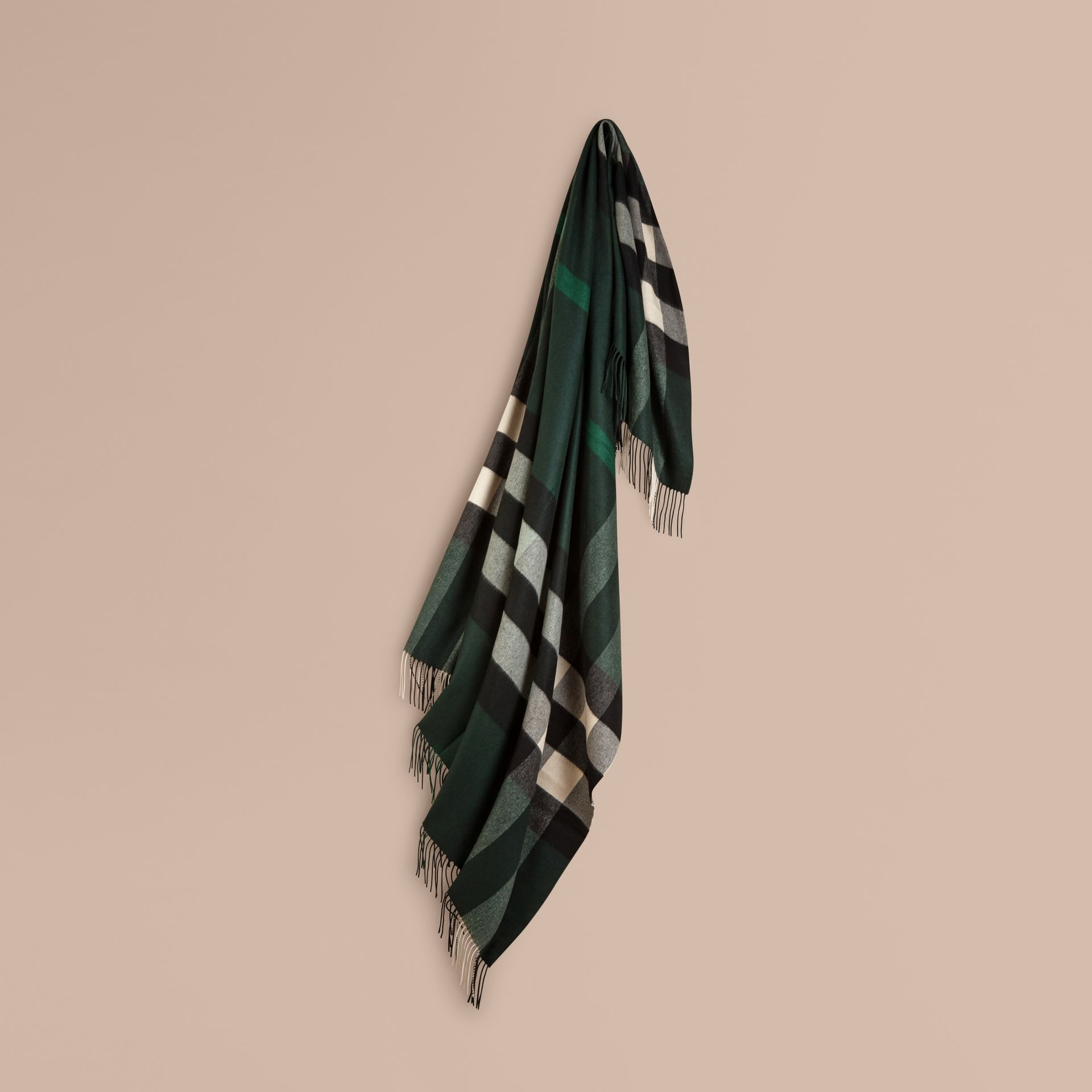 Dark forest green Check Cashmere Blanket Dark Forest Green - gallery image 1