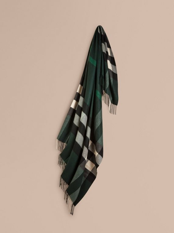 Check Cashmere Blanket in Dark Forest Green
