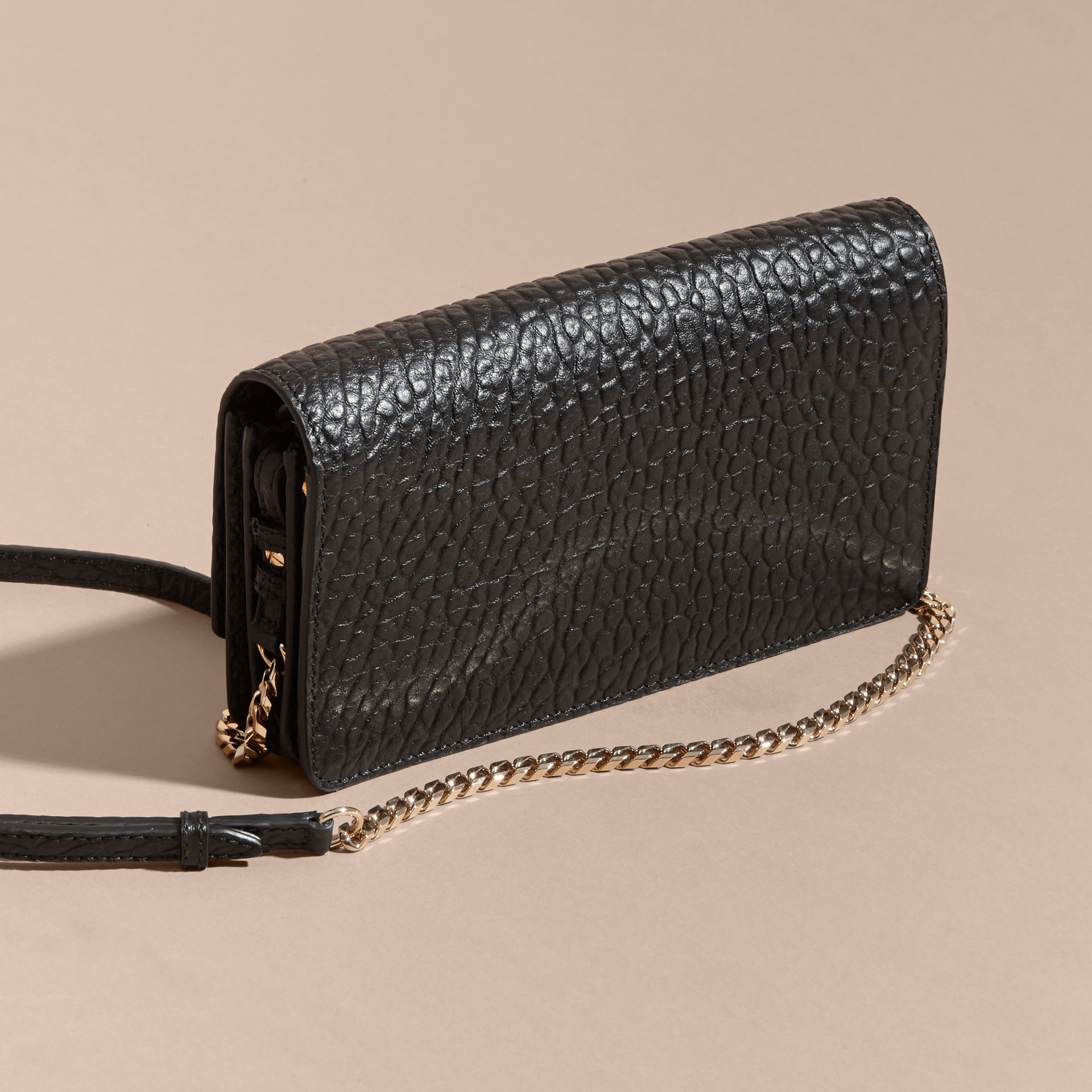 Black Small Signature Grain Leather Clutch Bag with Chain - gallery image 5