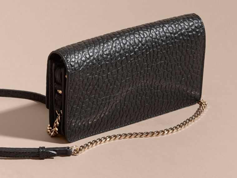 Black Small Signature Grain Leather Clutch Bag with Chain - cell image 4