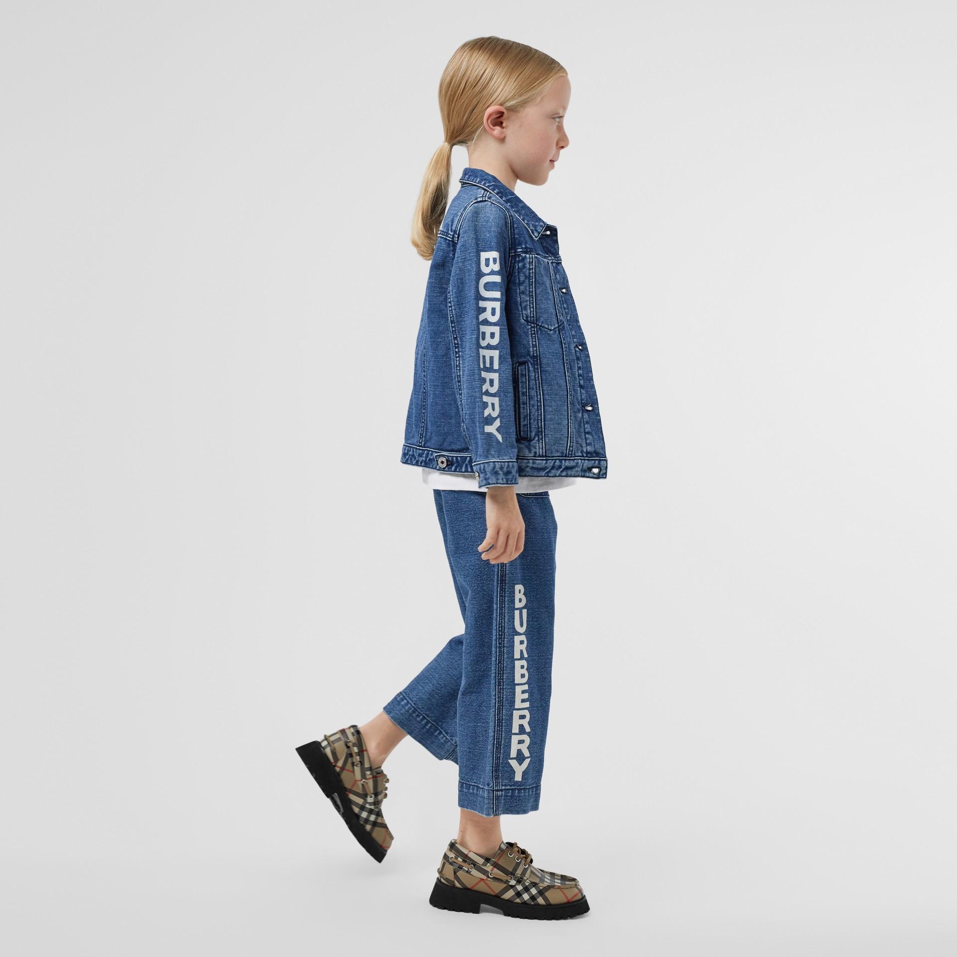Logo Print Japanese Denim Jeans in Indigo - Girl   Burberry - gallery image 2