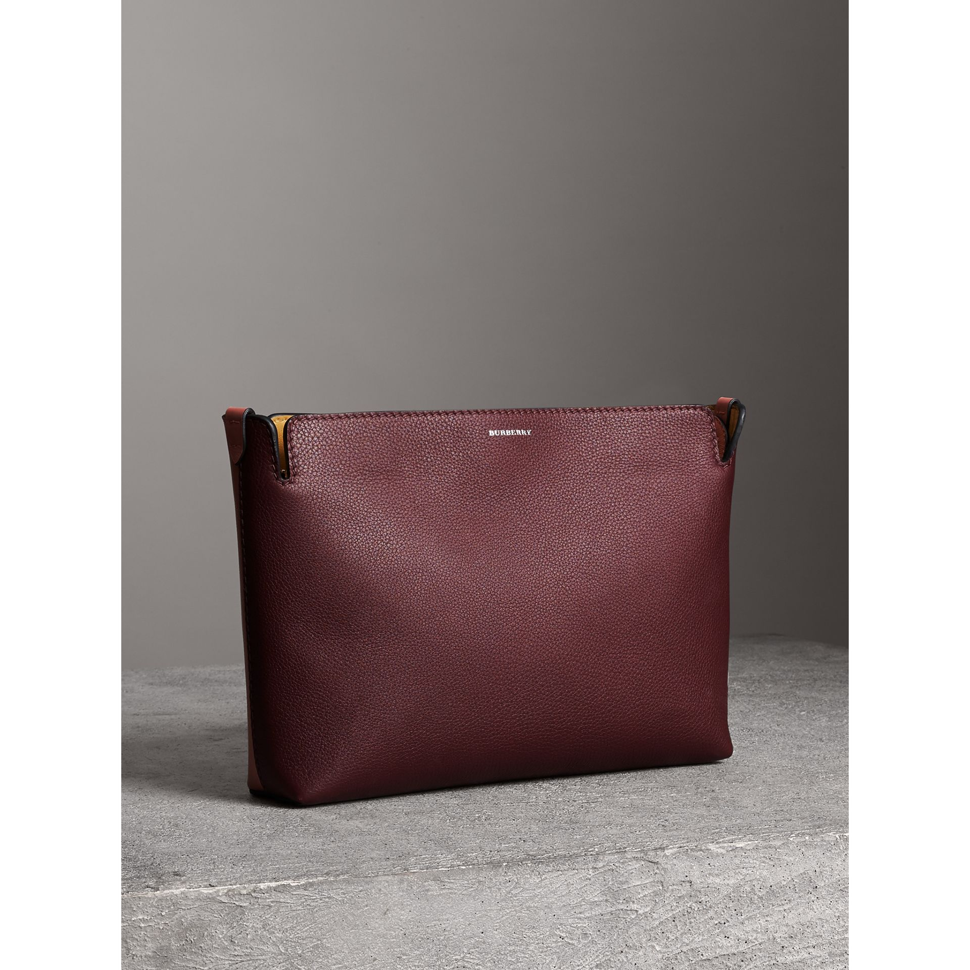 Medium Tri-tone Leather Clutch in Deep Claret/dusty Rose | Burberry - gallery image 6
