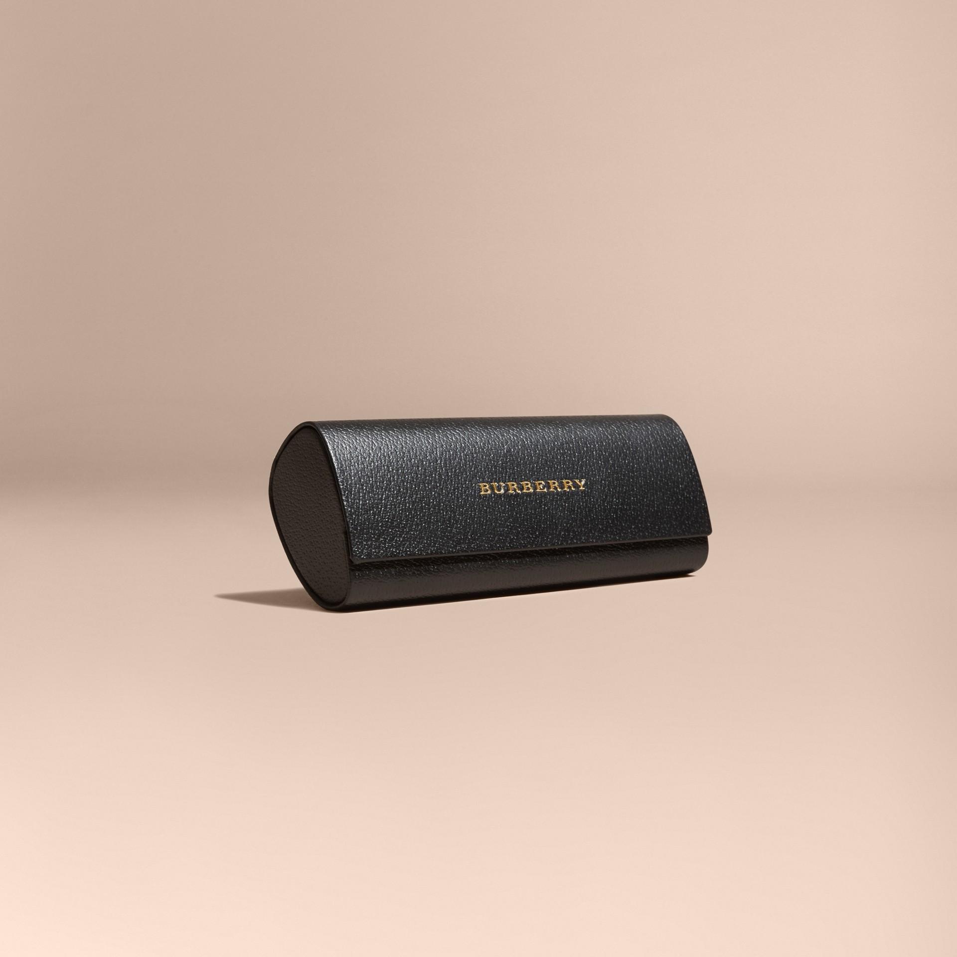 Nero Occhiali da sole con montatura squadrata in acetato e pelle Nero - immagine della galleria 6
