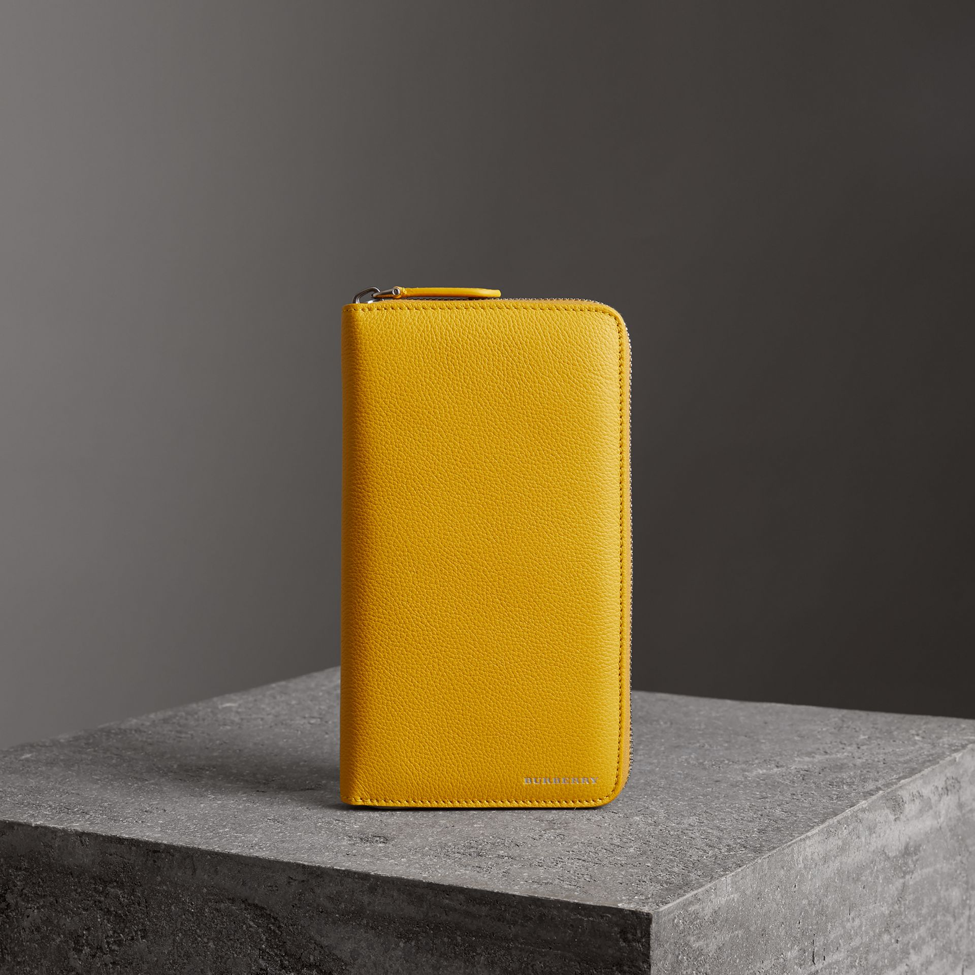 Grainy Leather Ziparound Wallet in Bright Ochre Yellow - Men | Burberry - gallery image 0