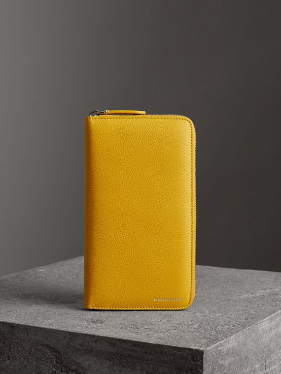 Grainy Leather Ziparound Wallet in Bright Ochre Yellow