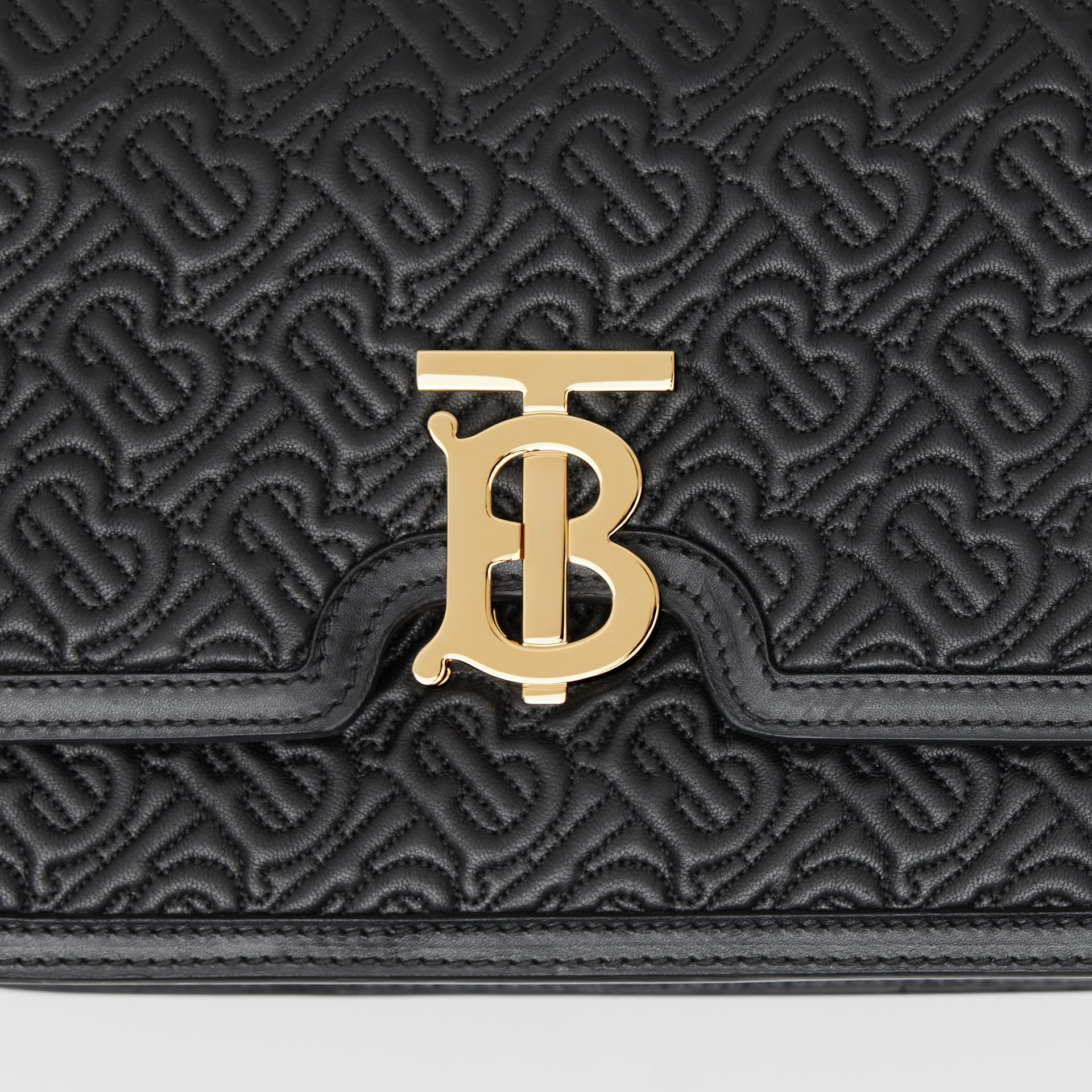 Medium Quilted Monogram Lambskin TB Bag in Black - Women | Burberry - gallery image 8