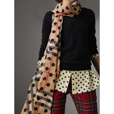 Burberry Spot Print and Check Lightweight Wool Silk Scarf Outlet Clearance Find Great Online lQxHXu