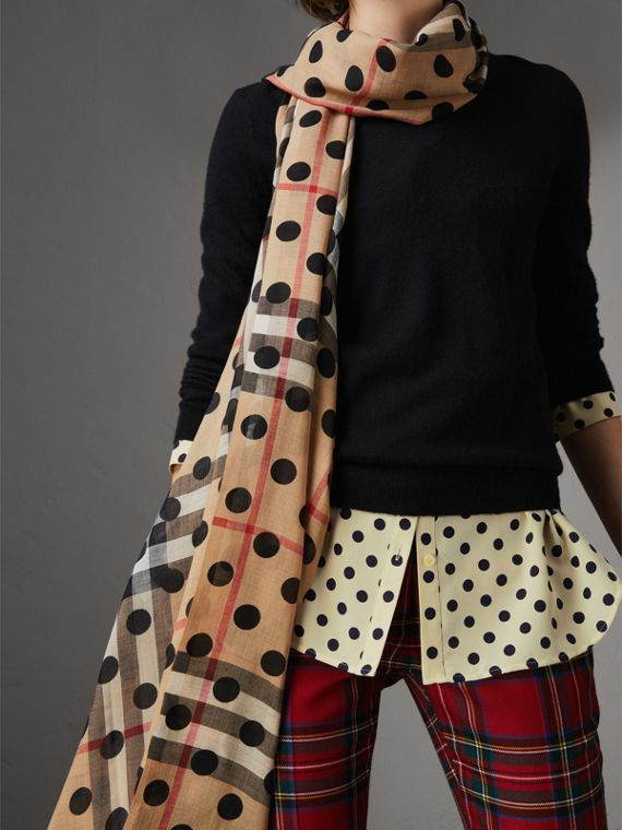 Spot Print and Check Lightweight Wool Silk Scarf in Black - Women | Burberry - cell image 2