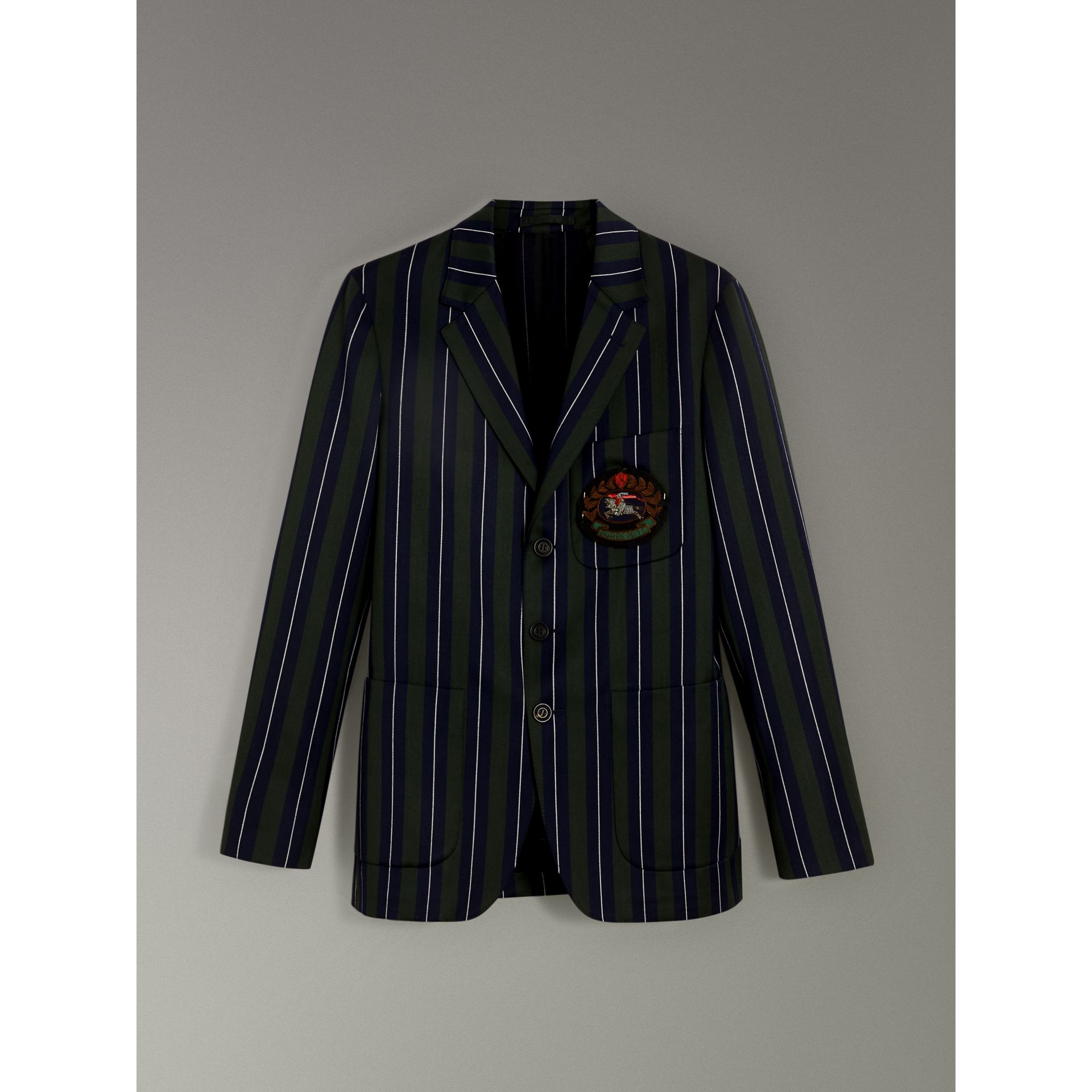 Slim Fit Striped Wool Cotton Club Blazer in Dark Forest Green - Men | Burberry United Kingdom - gallery image 3