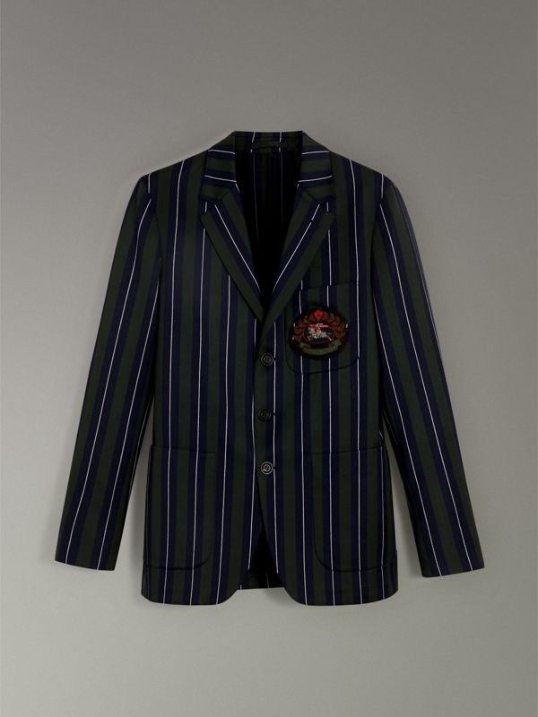 Archive Crest Striped Wool Cotton Tailored Jacket in Dark Forest Green - Men | Burberry - cell image 3