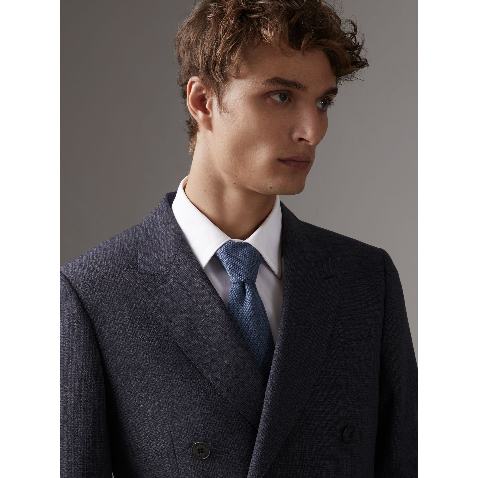 Slim Cut Waffle Knit Wool Tie in Lavender Blue - Men | Burberry - gallery image 3