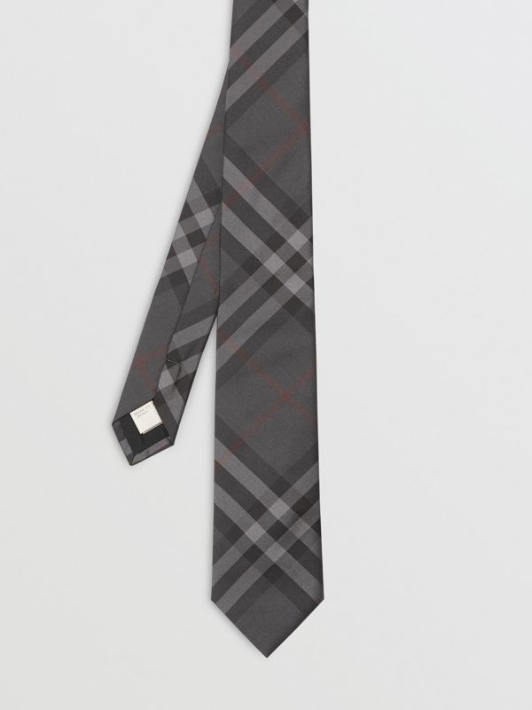 Modern Cut Vintage Check Silk Tie in Dark Charcoal - Men | Burberry Australia - cell image 3