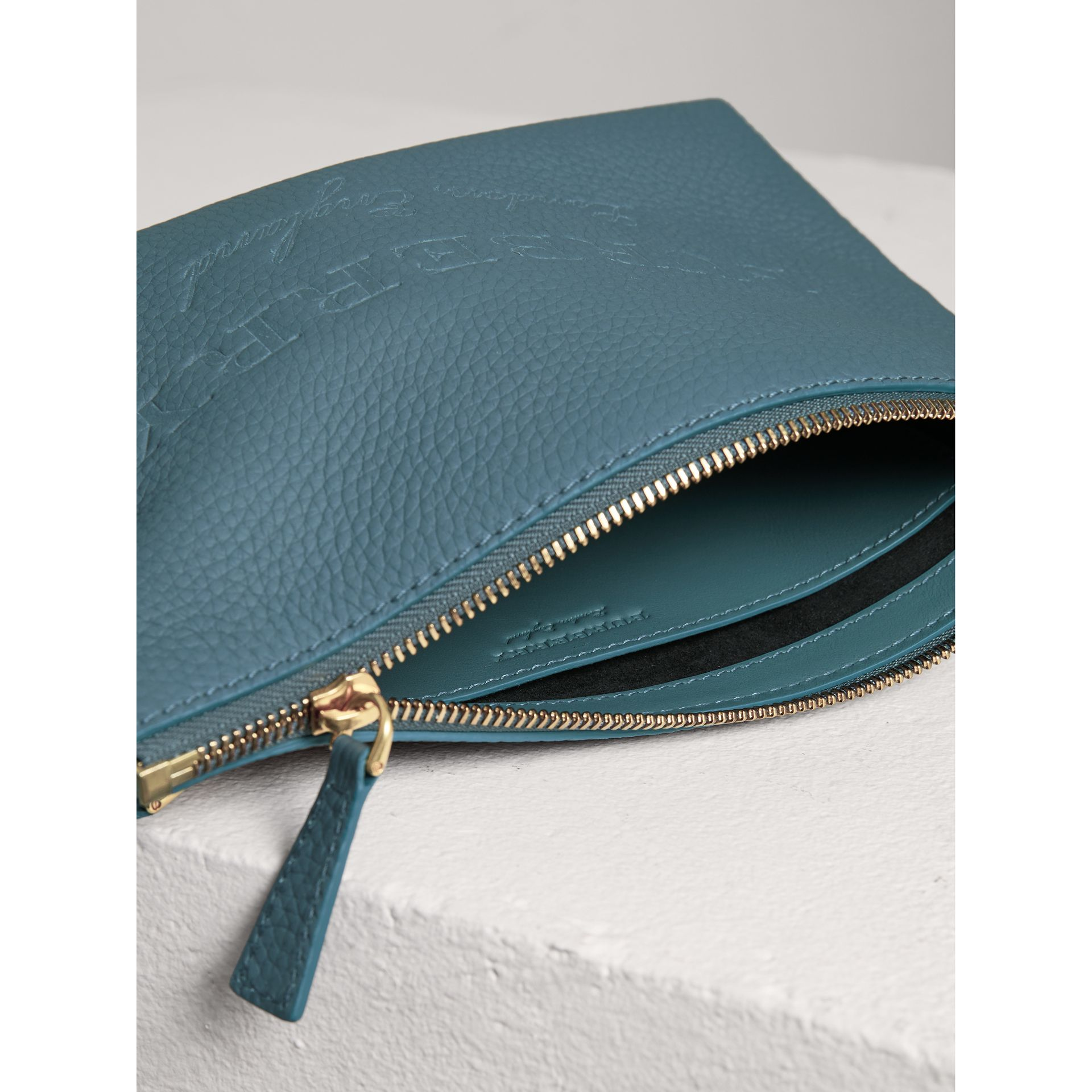 Medium Embossed Leather Zip Pouch in Dusty Teal Blue | Burberry Canada - gallery image 3