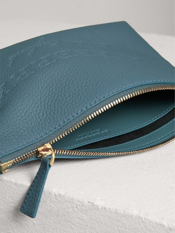 Medium Embossed Leather Zip Pouch in Dusty Teal Blue | Burberry - cell image 3