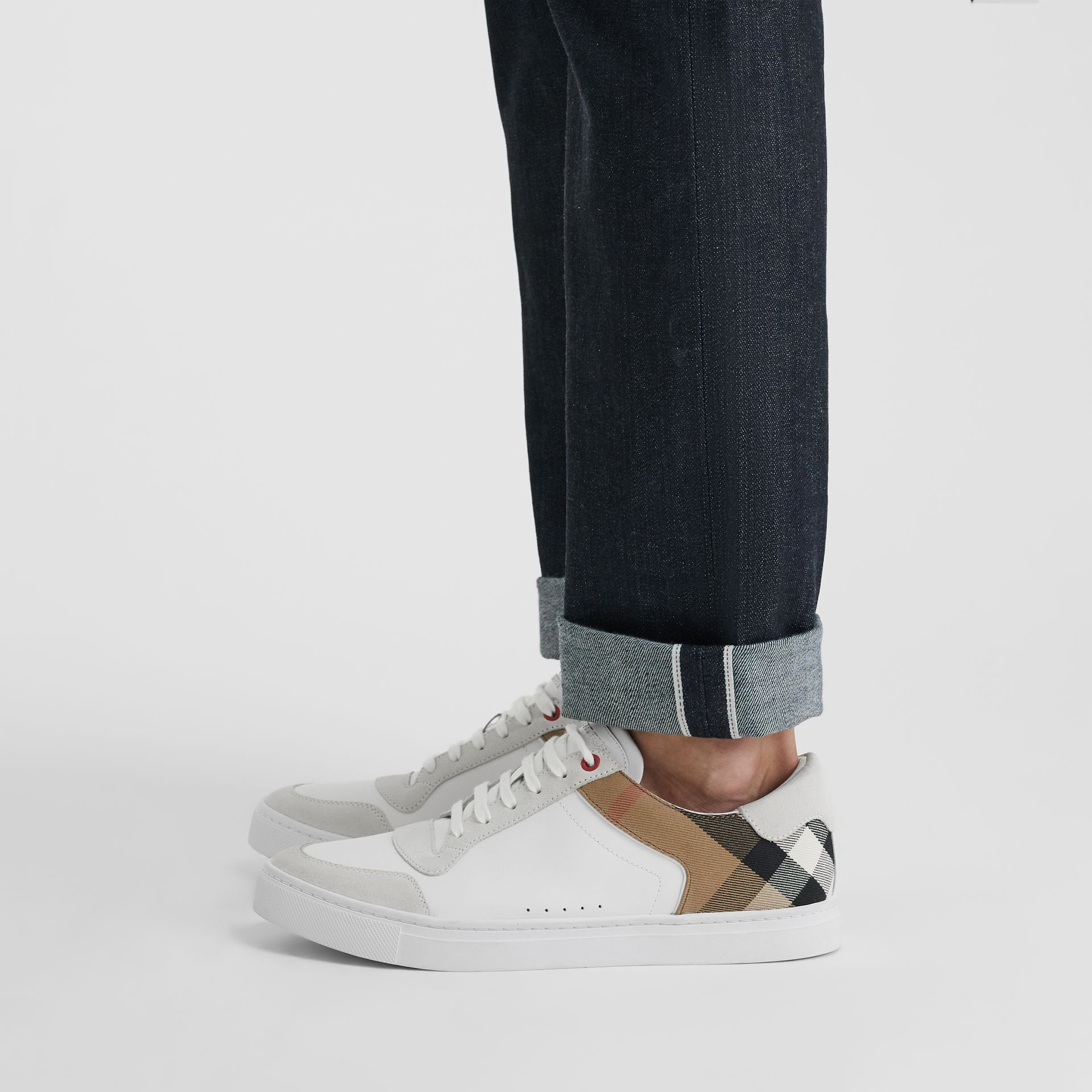 Leather and House Check Sneakers in Optic White - Men | Burberry Australia - gallery image 2