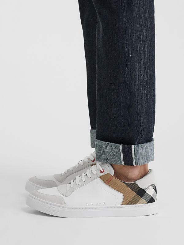 Leather and House Check Sneakers in Optic White - Men | Burberry Hong Kong S.A.R - cell image 2