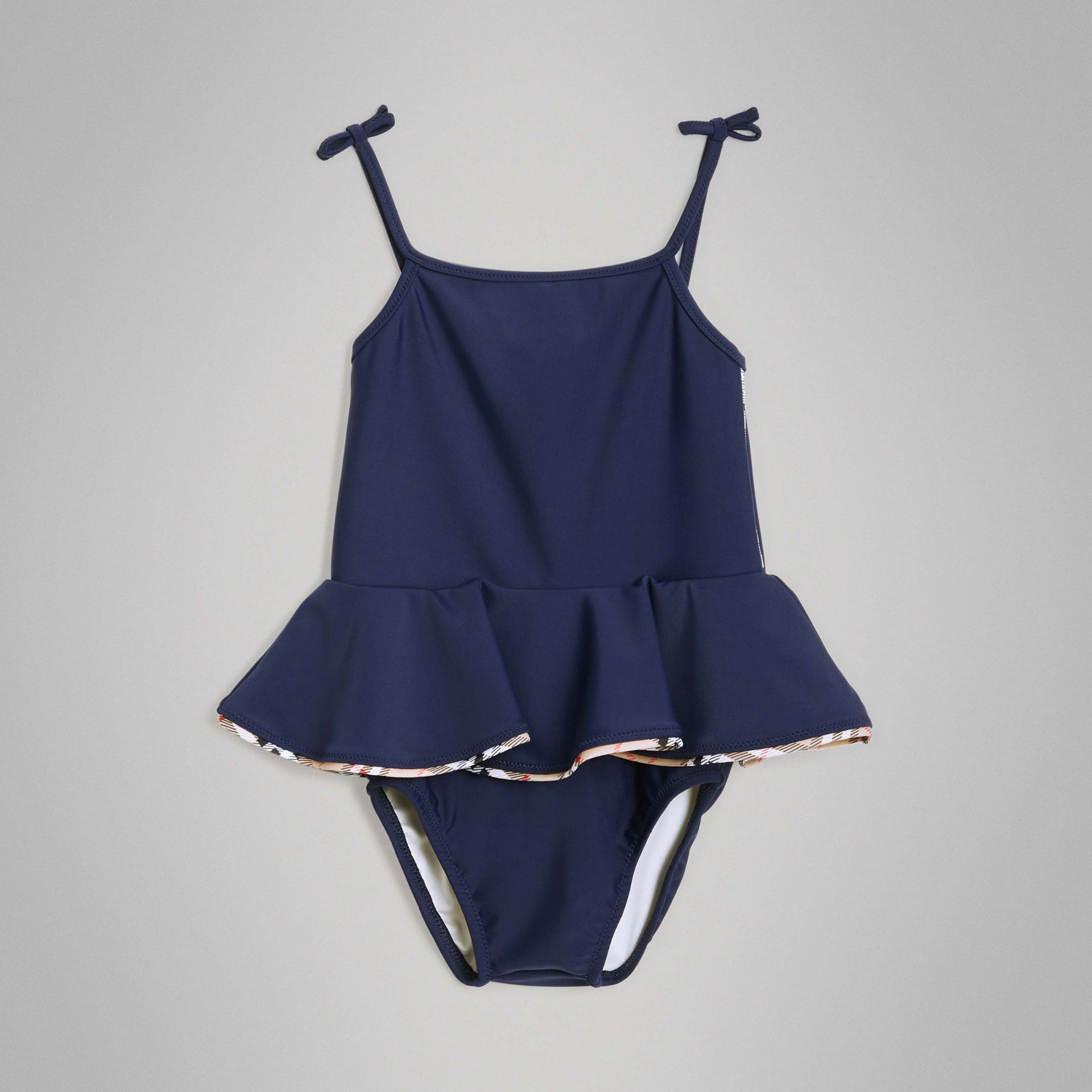 Check Detail Peplum One-piece Swimsuit in Navy - Children | Burberry United Kingdom - gallery image 2