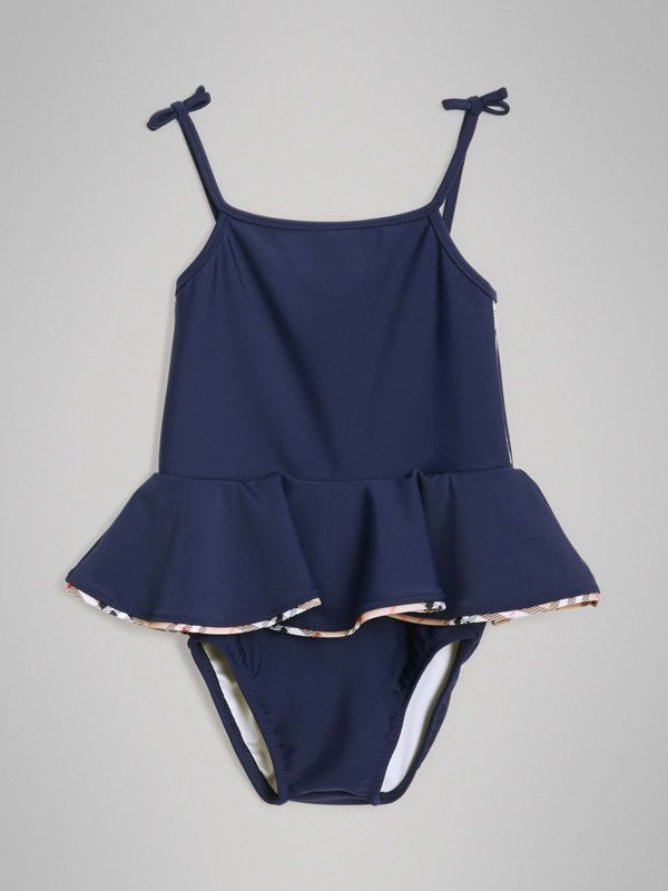 Check Detail Peplum One-piece Swimsuit in Navy - Children | Burberry United Kingdom - cell image 2