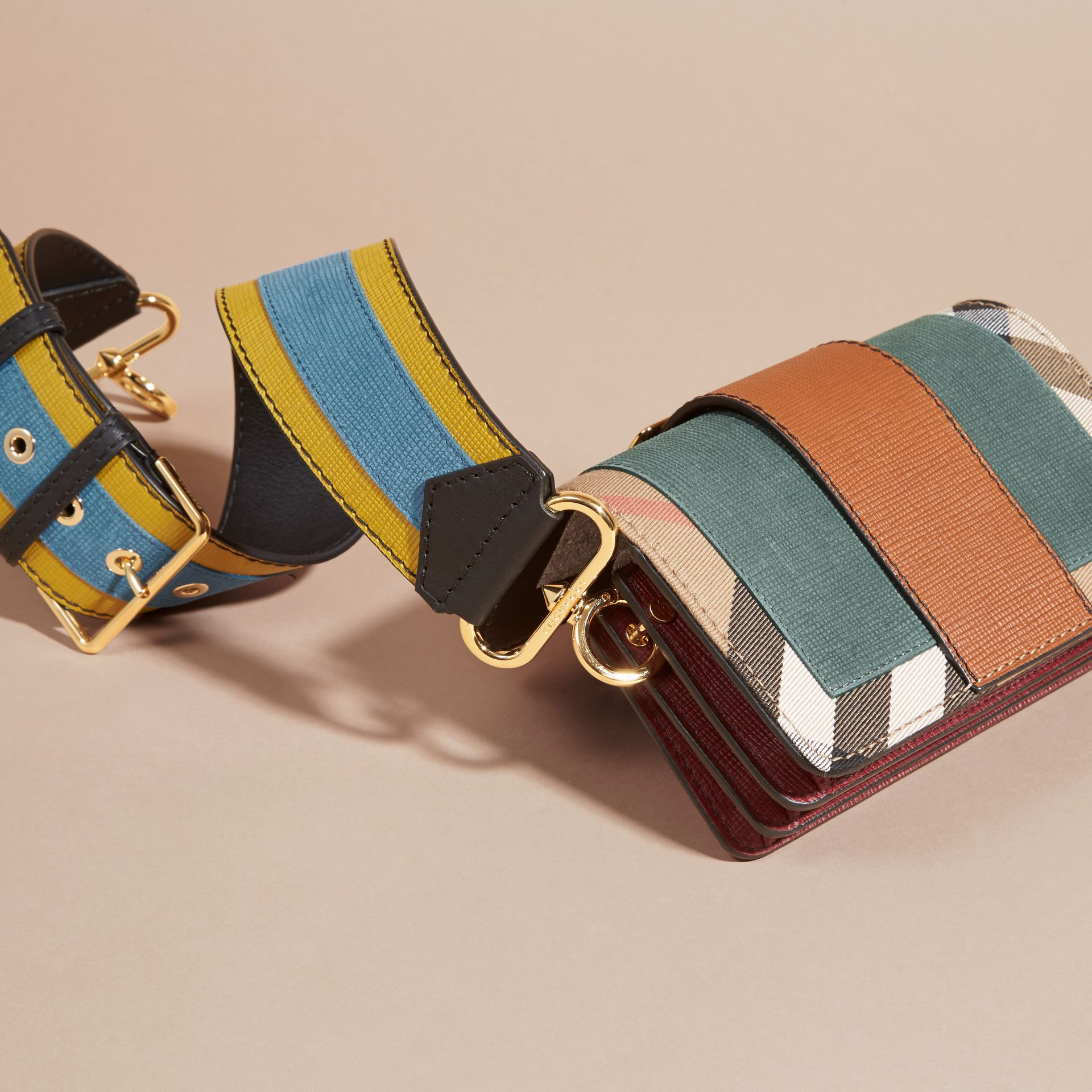 The Small Buckle Bag in Suede and House Check Sea Green - gallery image 5