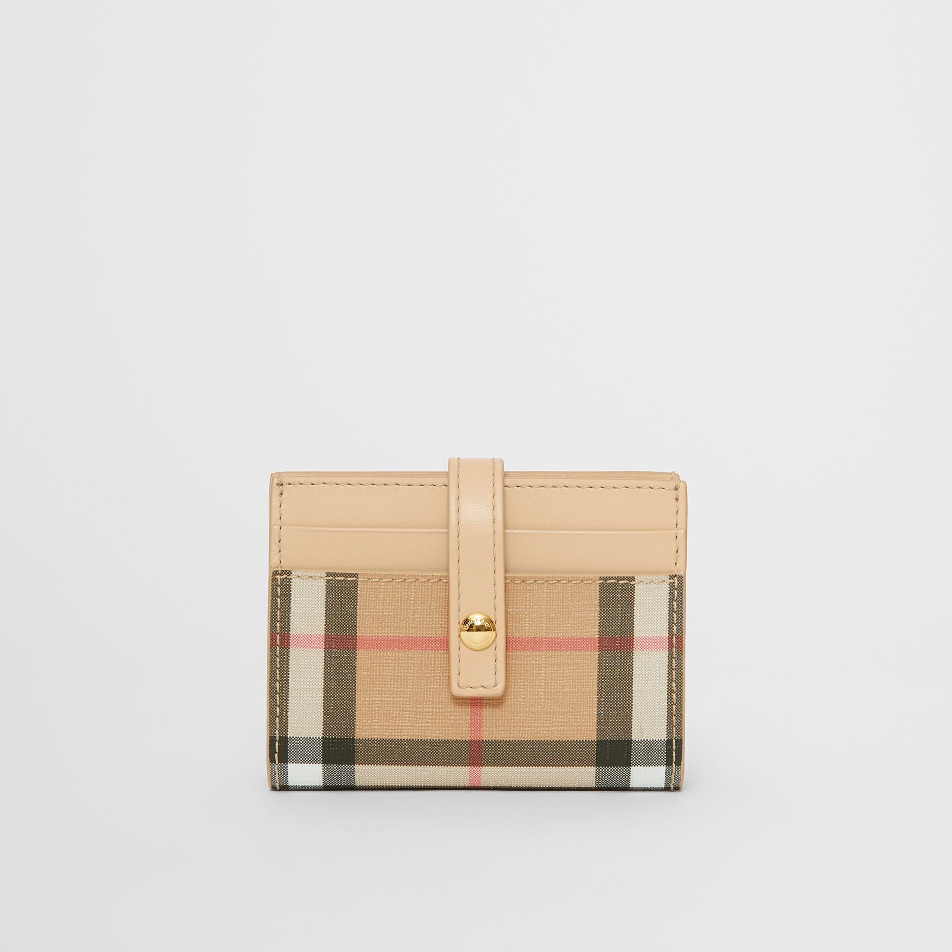 Vintage Check E-canvas Folding Card Case in Beige - Women | Burberry - gallery image 0
