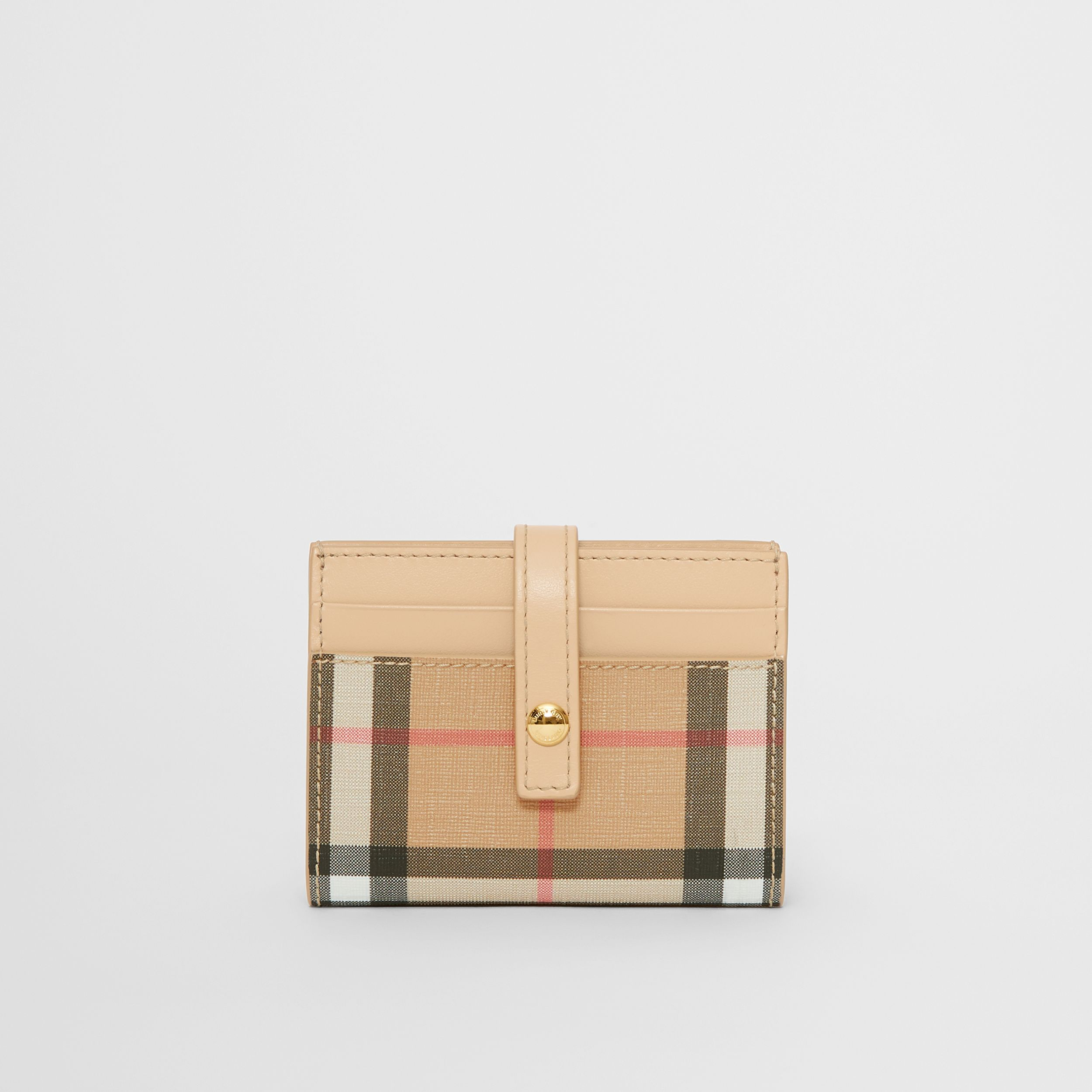 Vintage Check E-canvas Folding Card Case in Beige - Women | Burberry - 1