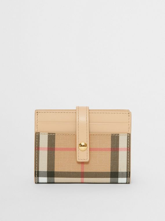 Vintage Check E-canvas Folding Card Case in Beige
