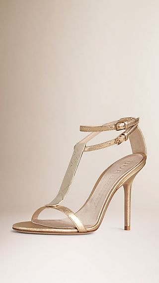 Check Plaque Detail Metallic Leather Sandals
