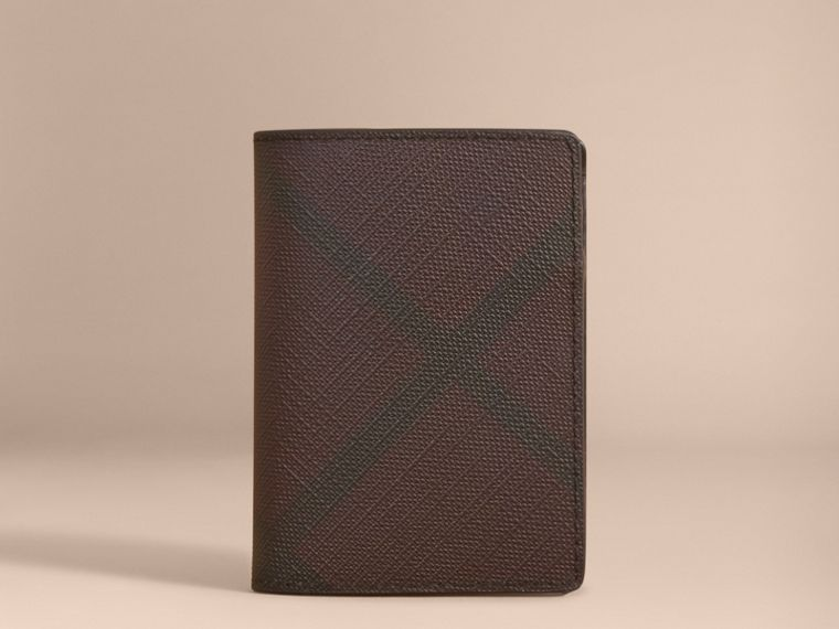London Check and Leather Folding Card Case in Deep Claret - Men | Burberry Australia - cell image 4