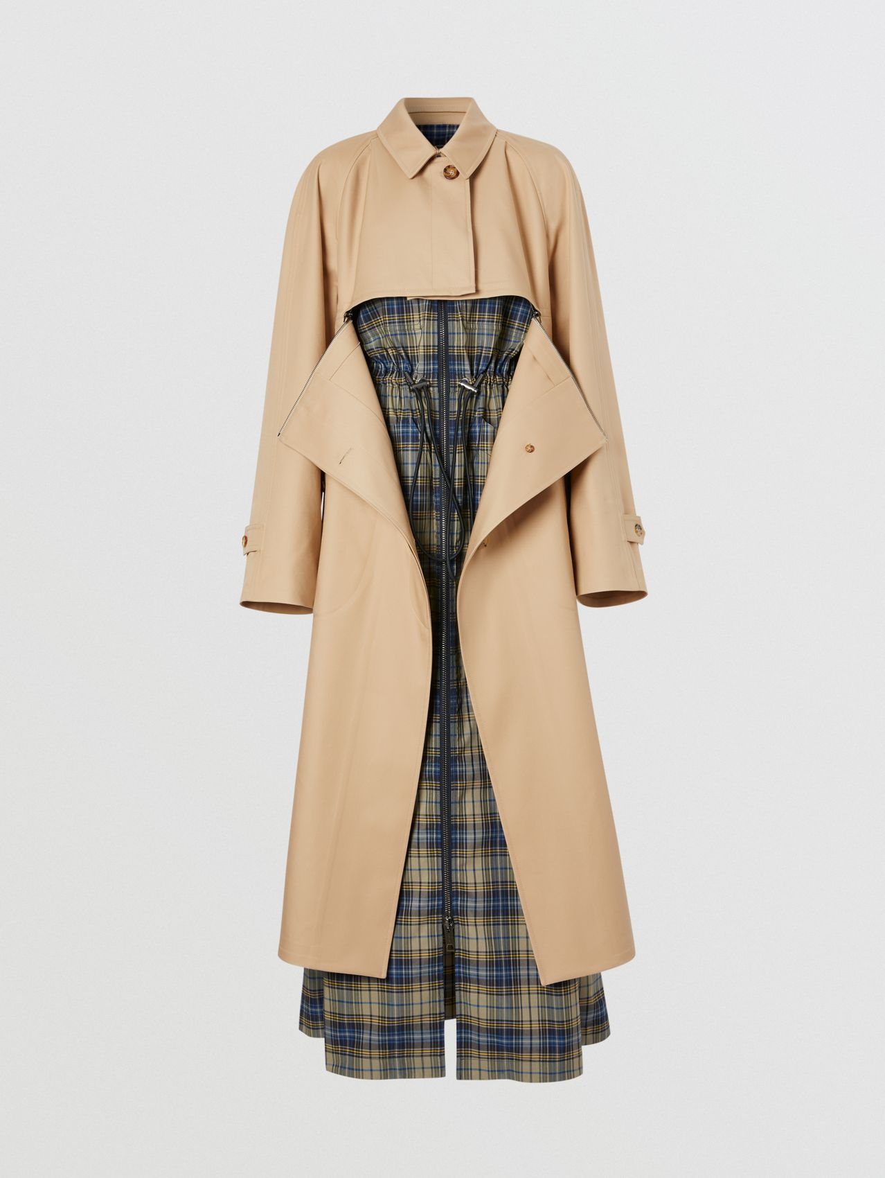 Cotton Gabardine Reconstructed Car Coat in Soft Fawn
