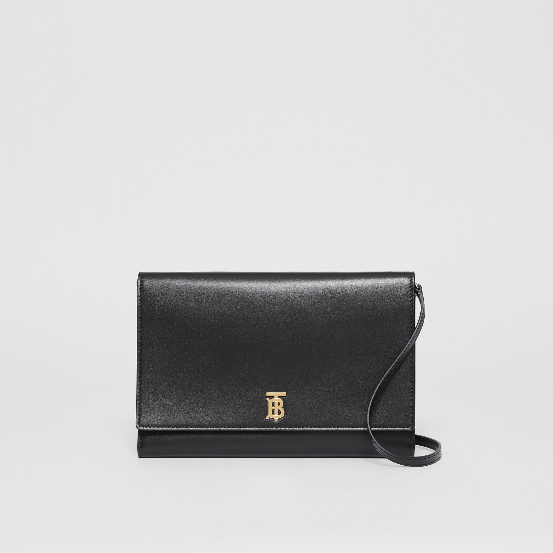Monogram Motif Leather Bag with Detachable Strap in Black - Women | Burberry - gallery image 0