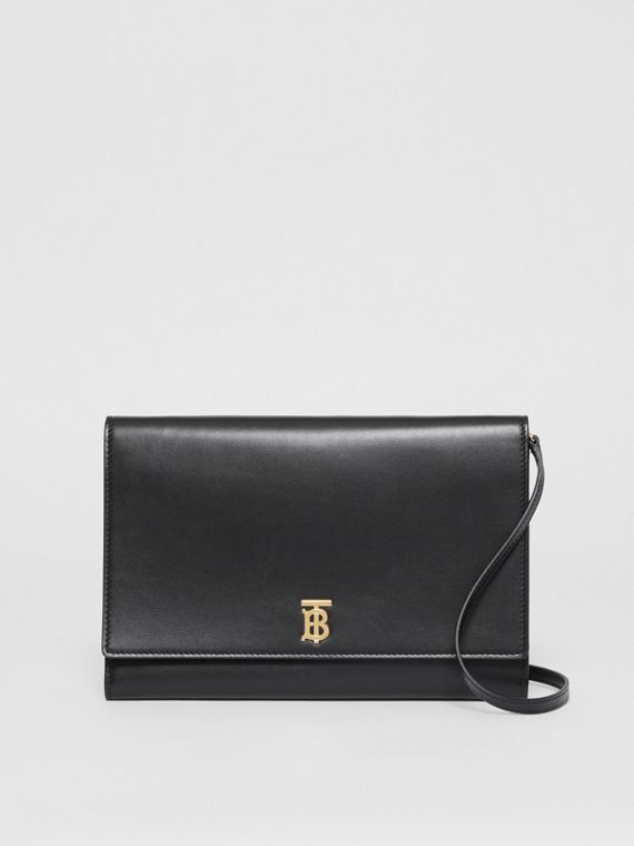 Monogram Motif Leather Bag with Detachable Strap in Black