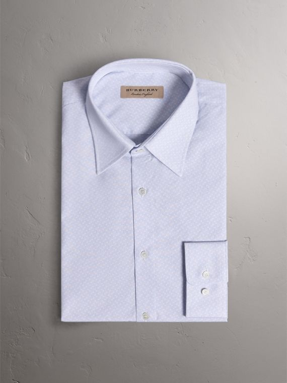 Slim Fit Striped Geometric Dobby Cotton Shirt in Pale Sky Blue