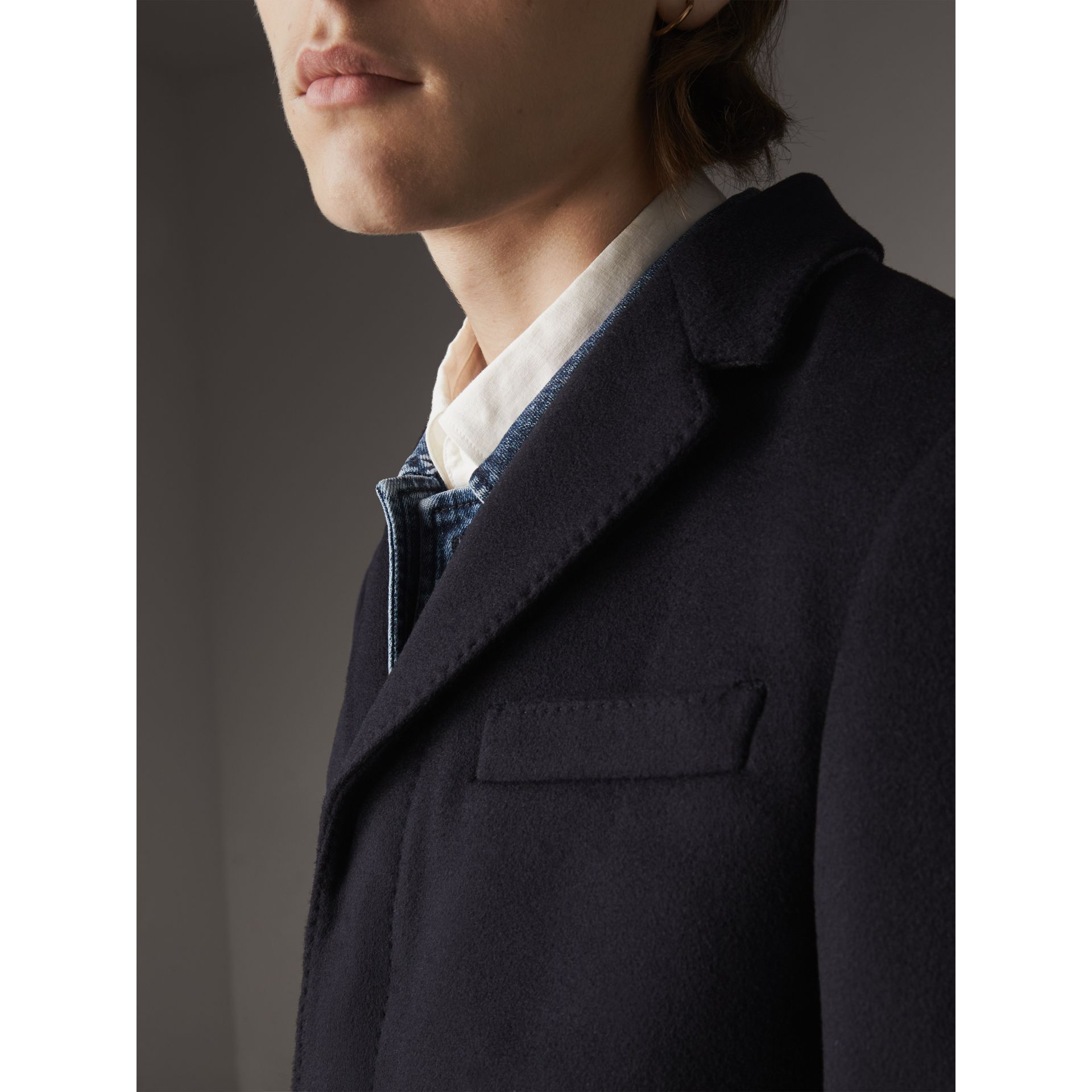 Wool Cashmere Tailored Coat in Navy - Men | Burberry - gallery image 5