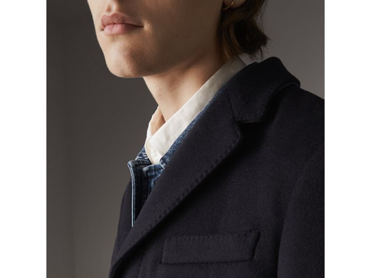 Wool Cashmere Tailored Coat in Navy - Men | Burberry - cell image 4