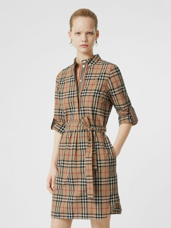 Vintage Check Cotton Tie-waist Shirt Dress in Archive Beige