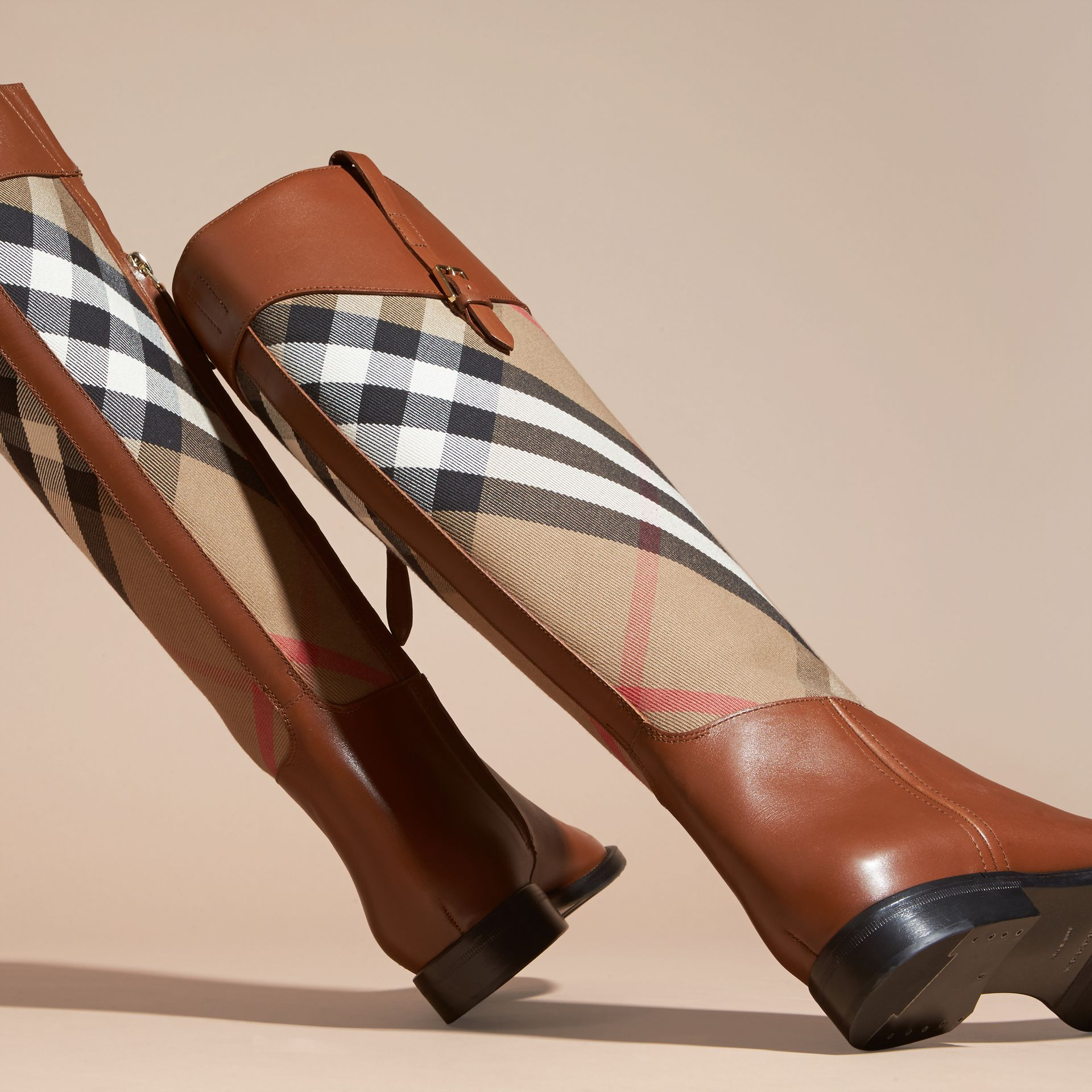 House Check and Leather Riding Boots in Chestnut - Women | Burberry - gallery image 4