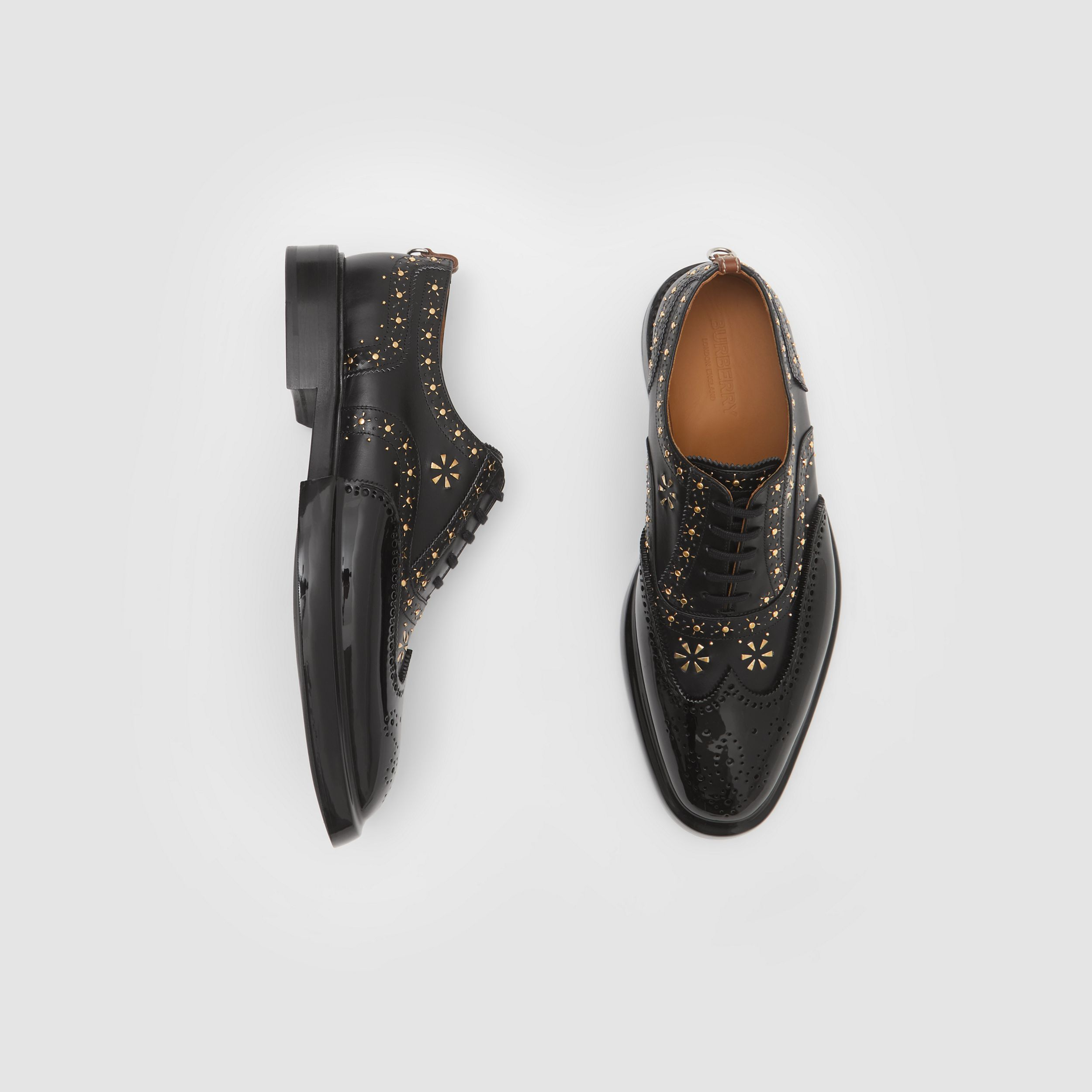 Toe Cap Detail Studded Leather Oxford Brogues in Black | Burberry Canada - 1