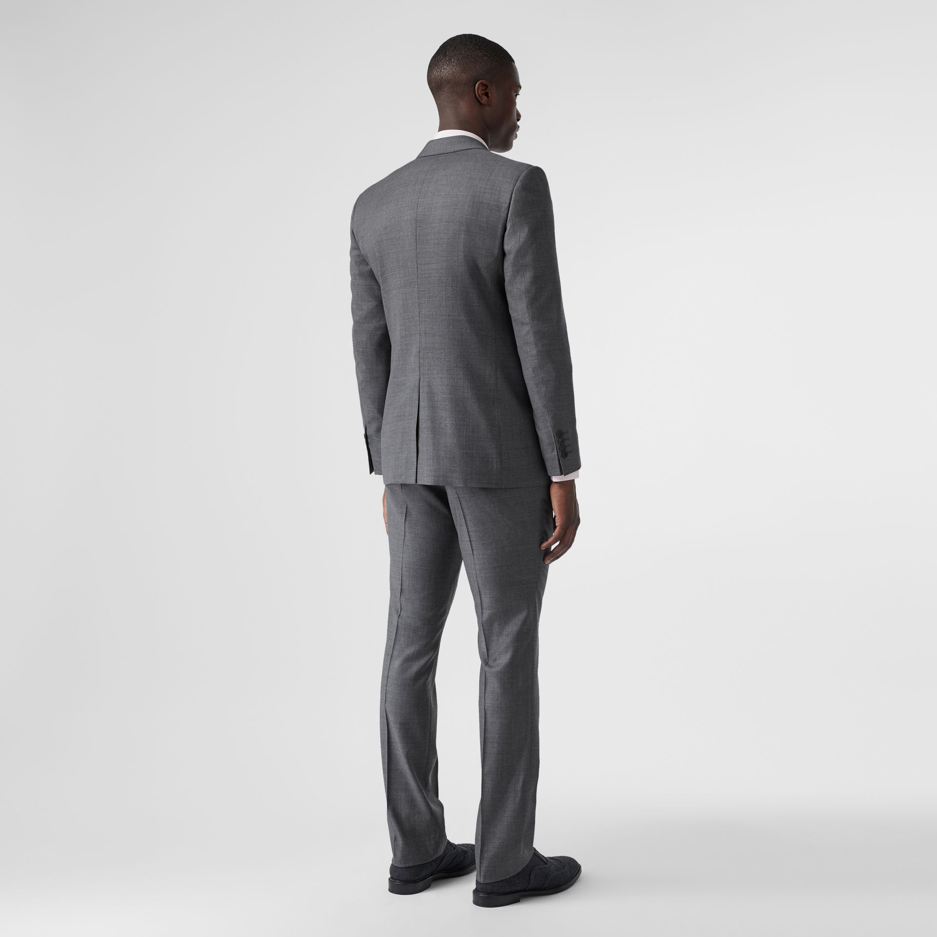 Classic Fit Sharkskin Wool Suit in Mid Grey Melange - Men | Burberry - gallery image 2